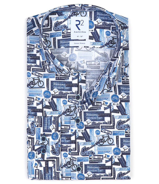 R2 Amsterdam overhemd wit blauw fietsen straat en fietsen borden print