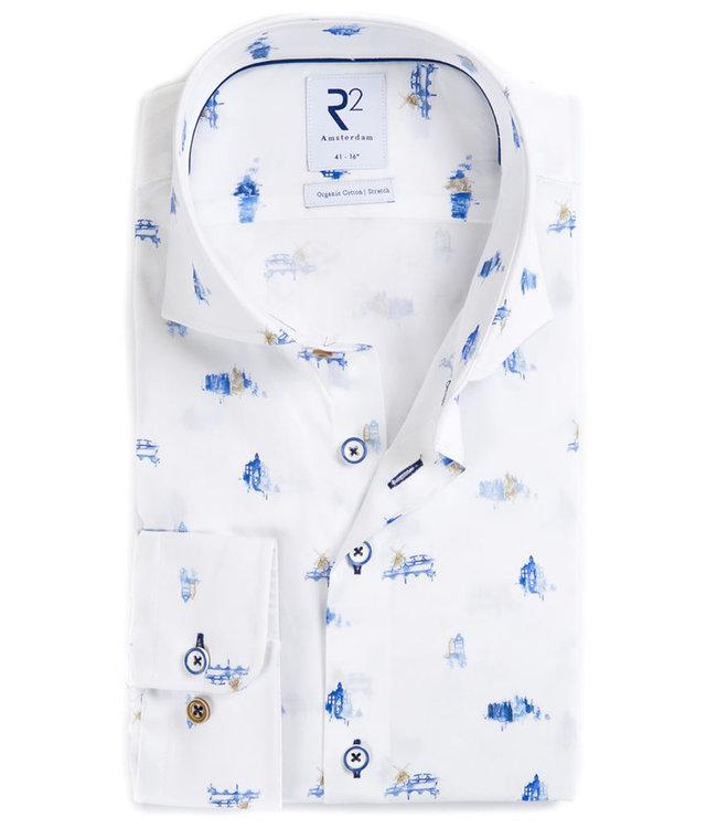 R2 Amsterdam overhemd wit blauw boten en grachten print