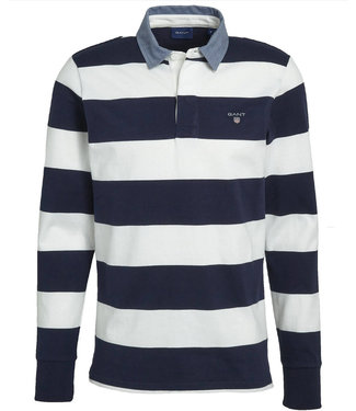 Gant wit-donkerblauw heren rugby shirt sweater