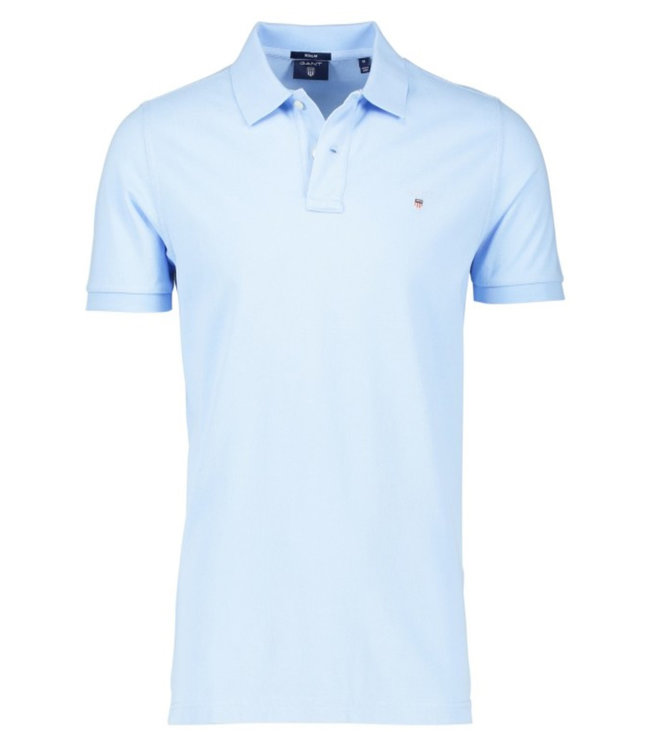 Gant lichtblauw heren polo korte mouw regular fit