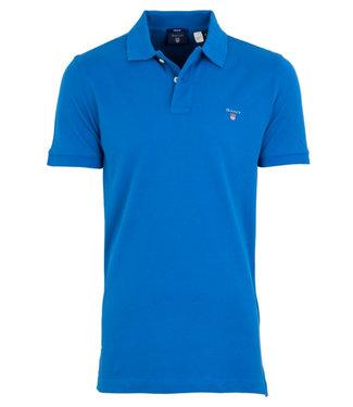 Gant kobaltblauw heren polo korte mouw  regular fit