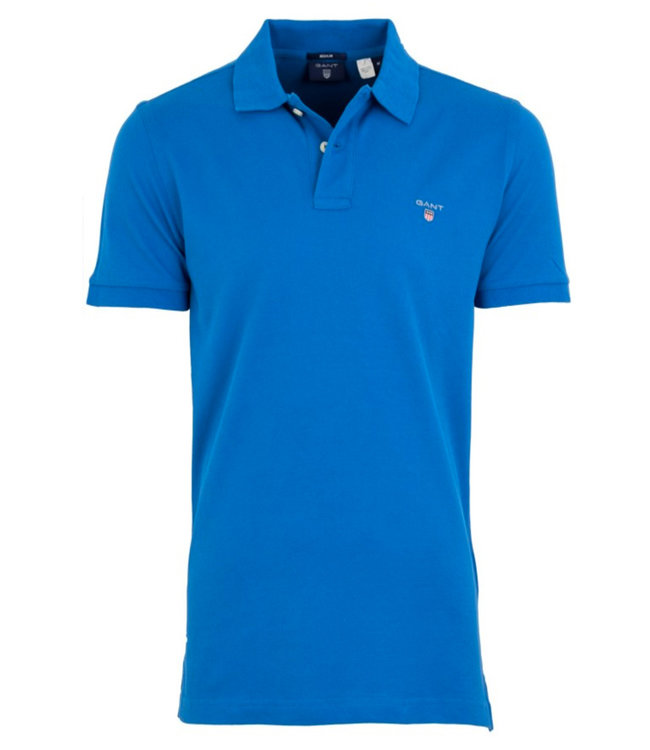 Gant kobaltblauw heren polo korte mouw  regular fit