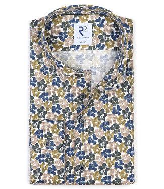 R2 Amsterdam overhemd wit met donkerblauw groen bloemen print