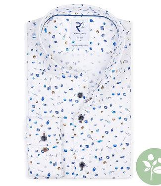R2 Amsterdam overhemd wit met tennis racket print