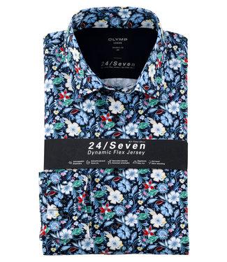 Olymp overhemd donkerblauw met tutti colori bloemenprint