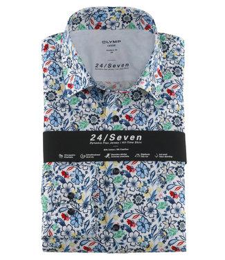 Olymp overhemd wit met tutti colori bloemenprint