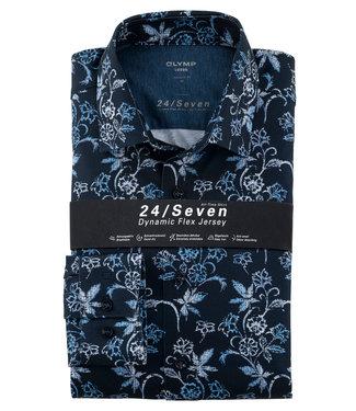 Olymp overhemd donkerblauw met lichtblauw wit bloemenprint