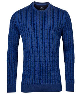 Thomas Maine heren kobaltblauw ronde hals kabel trui
