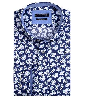 Giordano Regular Fit donkerblauw met wit groen bloemen print