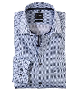Olymp overhemd donkerblauw wit lichtblauw structuur mouwlengte 7
