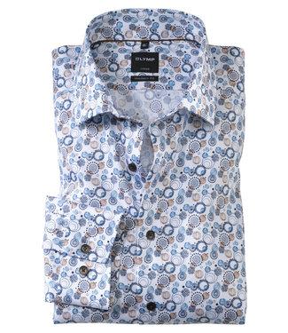 Olymp overhemd wit met donkerblauw bruin blauw rondjes print mouwlengte 7