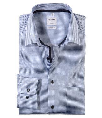 Olymp overhemd donkerblauw wit lichtblauw structuur