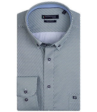 Giordano Regular Fit groen donkerblauw wit structuur print