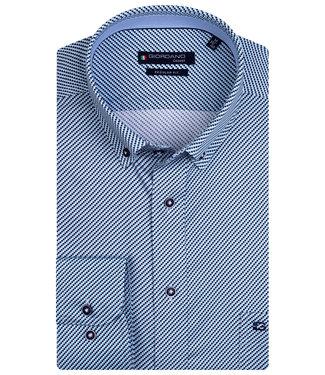 Giordano Regular Fit aqua blauw donkerblauw wit structuur print