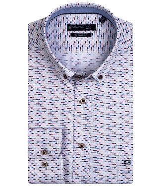 Giordano Regular Fit wit met roze-donkerblauw-lichtblauw vissen print