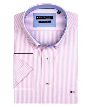 Giordano Regular Fit roze-wit oxford streepje