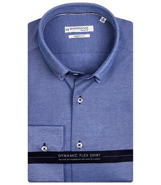 Giordano Tailored heren overhemd blauw jersey dynamic flex button down