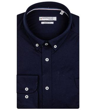 Giordano Tailored heren overhemd donkerblauw jersey dynamic flex button down
