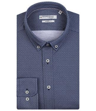 Giordano Tailored donkerblauw kobaltblauw print jersey dynamic flex