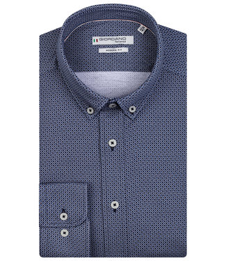 Giordano Tailored heren overhemd donkerblauw kobaltblauw print jersey dynamic flex