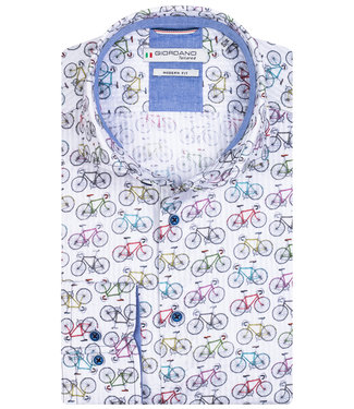 Giordano Tailored heren overhemd wit tutti colori wielren fietsen print
