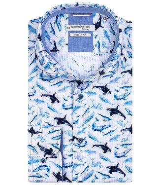 Giordano Tailored wit donkerblauw kobaltblauw dolfijnen print