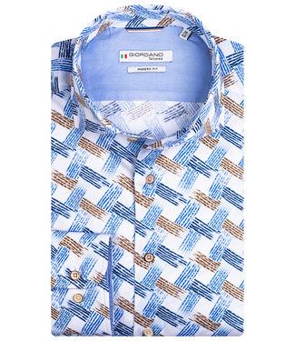 Giordano Tailored wit blauw bruin grafische print