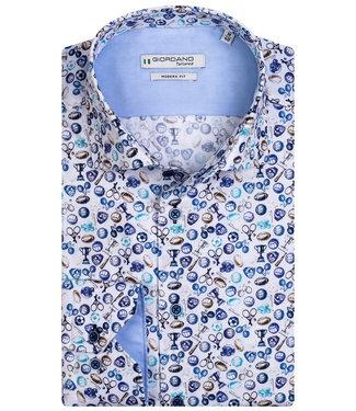 Giordano Tailored heren overhemd wit donkerblauw aqua blauw bruin print