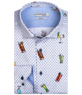 Giordano Tailored heren overhemd wit met tutti cocktail print