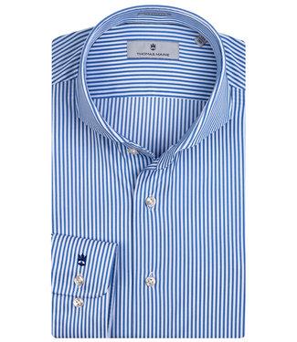 Thomas Maine overhemd blauw-wit streepje techno stretch Albini