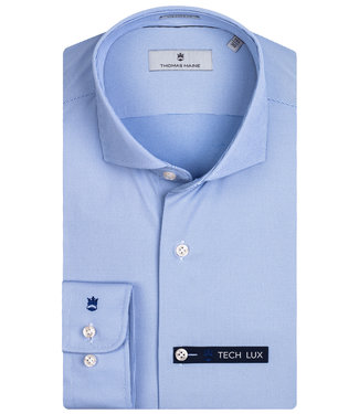 Thomas Maine overhemd lichtblauw structuur techno stretch Albini