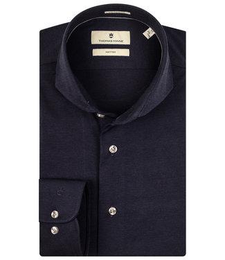 Thomas Maine overhemd donkerblauw jersey 1 knoops cut away