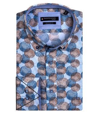 Giordano Regular Fit wit met blauw-lichtblauw-bruin circle print