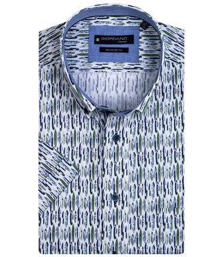 Giordano Regular Fit wit met blauw groen grafische print
