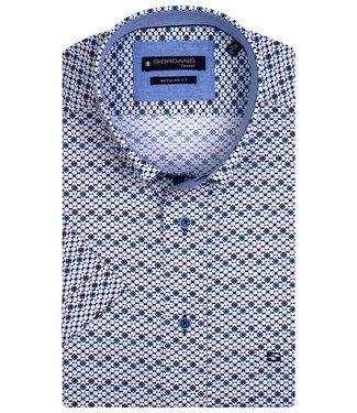 Giordano Regular Fit wit met donkerblauw-lichtblauw-kobaltblauw-beige print