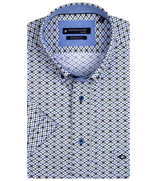 Giordano Regular Fit wit met groen-lichtblauw-donkerblauw print
