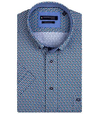 Giordano Regular Fit wit donkerblauw aqua blauw grafische print