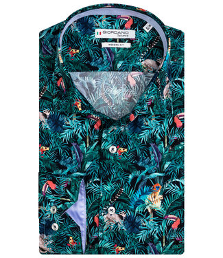 Giordano Tailored heren overhemd zwart groen blauw jungle print