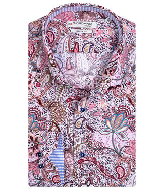 Giordano Tailored heren overhemd paars paisley print