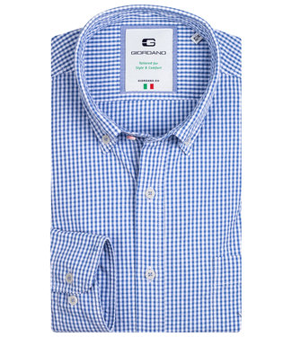 Giordano Tailored blauw wit ruitje 1knoops button down
