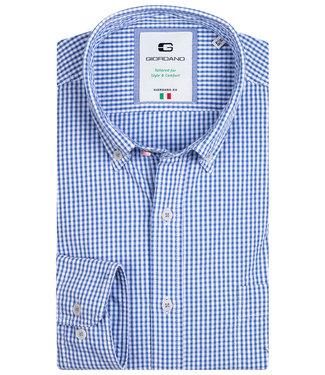 Giordano Tailored heren overhemd blauw wit ruitje 1knoops button down