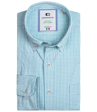 Giordano Tailored heren overhemd groen wit ruitje 1knoops button down