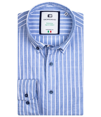 Giordano Tailored blauw-wit streep 1knoops button down