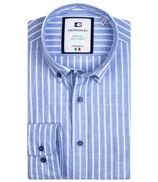 Giordano Tailored heren overhemd blauw-wit streep 1knoops button down