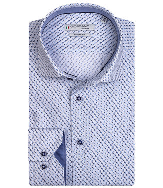 Giordano Tailored heren overhemd wit met blauw donkerblauw print