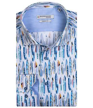 Giordano Tailored heren overhemd wit met blauw aqua blauw surfplanken print