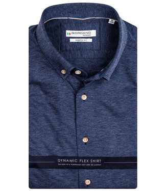 Giordano Tailored heren overhemd jeans blauw knitted jersey dynamic flex button down