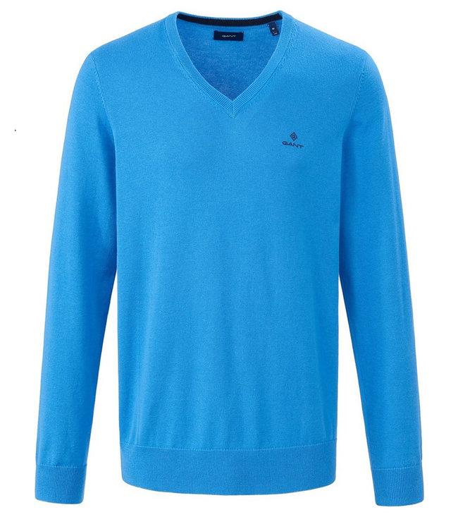 Gant heren blauw v-hals trui