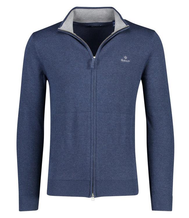 Gant heren jeans blauw vest met rits