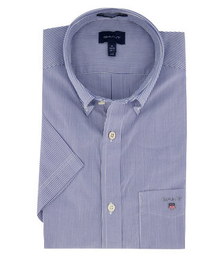 Gant overhemd donkerblauw wit fijn streepje korte mouw